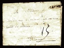 CP 8- LETTRE DU XVIII° S- CURSIVE NOIRE  DE LA FLECHE  POUR MACON 1764 AVEC TAXE A 15 DECIMES- - 3 SCANS - Marcophilie (Lettres)