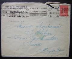 Clermont Ferrand 1927 Hôtel Des Victoires Café Restaurant A. Bargheon - Marcophilie (Lettres)
