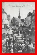 CPA (02) VILLERS-COTTERETS.  Vue Du Marché, Place De L'église, Animé, Magasins, Café...D222 - Villers Cotterets