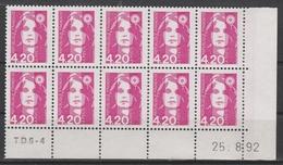 2770  4.20F. BRIAT ROSE - DEMI BAS De FEUILLE X 10 - TD6-4 Du 25.8.92 - Avec 1 RE à Droite - 1989-96 Bicentenial Marianne