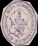 Bad Nauheim: Grossh. Hess. Bürgermeisterei Bad Nauheim Siegelmarke - Erinnophilie