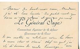 Carte Visite Avec Autographe Général Sage Commandant Supérieur De La Défense / Gouverneur De La CORSE à BASTIA - Autographes