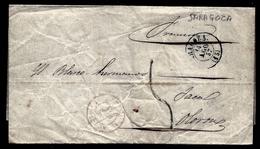 CP 8- LETTRE DE SARAGOZA ESPAGNE POUR JACA- CAD TYPE 15 DE 1857- CAD ROUGE DE TRANSIT- TAXE 5 DÉCIMES- 2 SCANS - 1801-1848: Précurseurs XIX