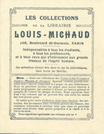 LES COLLECTIONS DE LA LIBRAIRIE LOUIS MICHAUD 168 BD SAINT GERMAIN PARIS  TRES JOLI FASICULE DE 16 PAGES - Publicidad