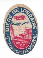 Etiquette De  Bière  Pression  - De Lorraine  -  Le Pré Saint Gervais  (93) - Bière