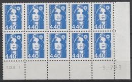 2822  4.40F. BRIAT BLEU - DEMI BAS De FEUILLES X 10 - TD6-1 Du 9.7.93 - - 1989-96 Bicentenial Marianne