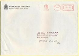 ITALIA - ITALY - ITALIE - 2002 - 00,77 EMA, Red Cancel - Comune Di Ravenna - Viaggiata Da Ravenna Per Lugo - Marcofilia - EMA ( Maquina De Huellas A Franquear)