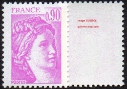 France Sabine De Gandon N° 2120 A ** Le 0.90 Fr. Lilas Rose - Variété Gomme Tropicale - 1977-81 Sabine Of Gandon