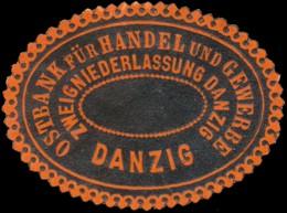 Danzig: Ostbank Für Handel Und Gewerbe Reklamemarke - Erinnophilie