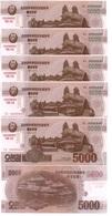 Korea North - 5 Pcs X 5000 Won 2013 / 2015 UNC 70 Years N. Korea Pick CS19 Serie 0000000 Lemberg-Zp - Korea, North