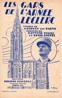 """PARTITION PATRIOTIQUE """" LES GARS DE L'ARMEE LECLERC """"-HOMMAGE AU GENERAL-1944-EXCELLENT ETAT - RECTO STRASBOURG CATHEDR - 1939-45"""