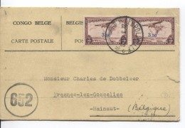 Belgisch Congo Belge TPA 17(2) S/CP Avion C.Léopoldville 22/3/1945 Censure Des Com.652 V.Frasnes-lez-Gosselies PR3638 - Congo Belge