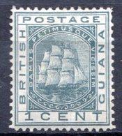 GUYANE BRITANNIQUE - 1876 - N° 33 - 1 C. Gris - (Armoiries) - Guyane Britannique (...-1966)