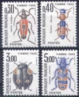 FRANCE Taxe 109 à 112 ** MNH Insecte Coléoptère 1983 Sous La Faciale - Insekten