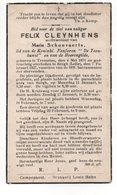 FELIX CLEYNHENS ° TREMELOO 1871 + BERGH ( LELLE) 1937 / MARIA SCHOOVAERTS - Images Religieuses