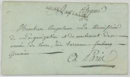 ARMEE D'ITALIE / LàC 1795 Lantosque Pour Paris . Etat De La Situation Du 2e Bat. De La 20e Demi-Brigade . - Postmark Collection (Covers)
