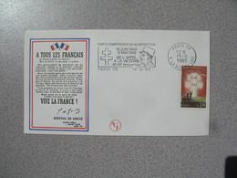 """Enveloppe 1985  La Libération Général De Gaulle """" A Tous Les Français """" L'appel De La Victoire  Cachet  Paris La Boetie - Marcophilie (Lettres)"""