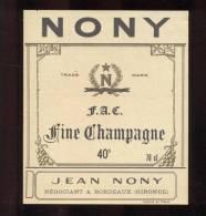 Etiquette De   Fine  Champagne  -  Nony - Etiquettes