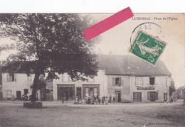 """19-LUBERSAC-Place De L'Eglise-""""Restaurant ROUMEGOUX"""" Et """"CENESTIE TAILLEUR""""-Animation-Edit. Mme LAGORSSE-1915- - Other Municipalities"""
