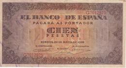 BILLETE DE ESPAÑA DE 100 PTAS 20/05/1938 SERIE G  EN CALIDAD MBC (VF) (BANK NOTE) - [ 3] 1936-1975 : Regime Di Franco