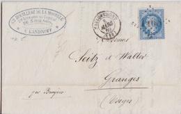Lettre Obl. T15 Faulquemont + GC 1468 Le 8 Mars 69 Sur N° 29 (20c Bleu) Pour Granges - Marcofilia (sobres)