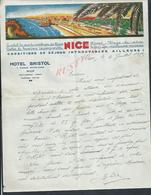 LETTRE COMMERCIALE ILLUSTRÉE 1935  HOTEL BISTOL À NICE : - 1900 – 1949