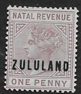 South Africa,   Zululand, 1891, Opt On Natal Revenue 1d, MH* - Zululand (1888-1902)