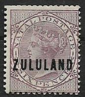 South Africa,   Zululand, 1893, Opt On Natal 6d, MH* - Zululand (1888-1902)