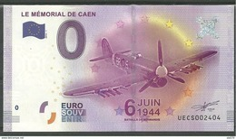Billet Touristique 0 Euro 2016  Le Mémorial De Caen  Avion  6 Juin 1944 - Essais Privés / Non-officiels