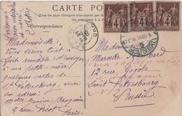 FRANCE TYPE PAIX YT N°88 MULTIPLES OBLITERES ARZEW ALGERIE SUR CPA  POUR ST PETERSBOURG RUSSIE - 1877-1920: Période Semi Moderne