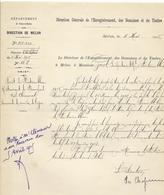 Courrier (1915) - Domaines De Melun - à Propos Du Loyer Du Restaurant De Franchard (forêt De Fontainebleau) - Historical Documents