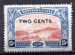 GUYANE BRITANNIQUE - 1899 - N° 95 - 2 C. S. 15 C. Bleu Et Brun-rouge - (Mont Roraima) - Guyane Britannique (...-1966)