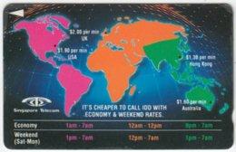 SINGAPORE A-909 Magnetic Telecom - Map, World - 2SOFA - Used - Singapur