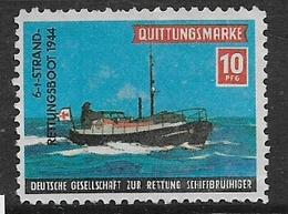 Quittungsmarke 10Pfg Gesellschaft Zur Rettung Bruchigerschiff 6-1 Strand Rettungsboot  1944 Sea Rescue Charity Stamp - Sin Clasificación