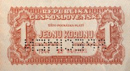 Czechoslovakia 1 Koruna, P-45s (1944) - UNC - SPECIMEN - Czechoslovakia