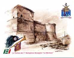 """Cartolina 1° BATTAGLIONE BERSAGLIERI """"La Marmora"""" / CIVITAVECCHIA - Régiments"""