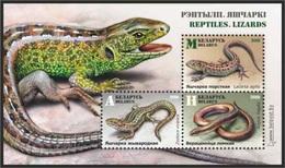 Belarus 2018 - Reptiles. Lizards. S/s, MNH. Biélorussie / Weissrussland. Fauna. Lizard Lézard Eidechse, Lucertola. - Bielorussia