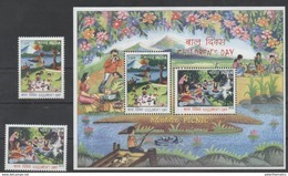 INDIA, 2016, MNH, CHILDREN'S DAY, MOUNTAINS, BOATS, FISHING, FOOD, 2v+SHEETLET - Childhood & Youth