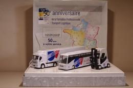 Coffret 50e Anniversaire De L'AFT-IFTIM Contenant 1 Camion Poids Lourd, 1 Autocar Et 1 élévateur - Trucks