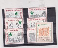 LOTE VIGNETTES CINDERELLAS VIZITU SRILANKON ESPERANTO SRI LANKA 1987 - BLEUP - Esperanto