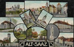 AK - ALT SAATZ (Zatec) - Mehrbild Mit  Gymnasium - Lauben Am Ringplatz - Priestertor, ....1908 - Tschechische Republik
