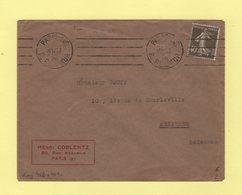 Krag - Paris 116 - 4 Lignes Droites Egales Et Bloc Dateur 4 Lignes - 1926 - Oblitérations Mécaniques (flammes)