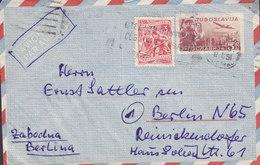 Yugoslavia Uprated Postal Stationery Ganzsache Avionom Par Avion BEOGRAD 1951 Cover Brief BERLIN Germany - Postal Stationery