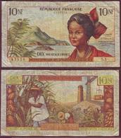ANTILLES FRANÇAISES - 10 NF Inst. D'Em. Des Départements D'OM - ND (1963)- P.5a - French Guiana