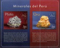 PERU, 2017, MNH, MINERALS, MINERALS OF PERU, GOLD, PLATINUM,  S/SHEET - Minéraux