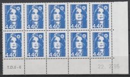 2822  4.40F. BRIAT BLEU - DEMI BAS De FEUILLE X 10 - TD6-6 Du 22.2.95 - - 1989-96 Marianne Du Bicentenaire