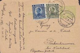 Croatia Vorläufer Yugoslavia Uprated Postal Stationery Ganzsache SUSAK 1923 PIRKENHAMMER Bei KARLSBAD (2 Scans) - Postal Stationery