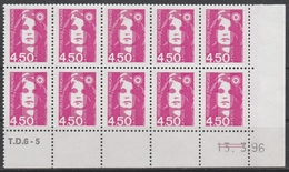 3007  4.50F. BRIAT ROSE - DEMI BAS De FEUILLE X 10 - TD6-5 Du 13.3.96 - 2 TRAITS à DROITE - 1989-96 Maríanne Du Bicentenaire
