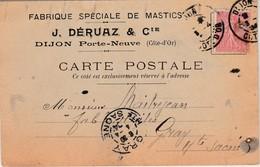 Carte Commerciale 1904 / J. Déruaz & Cie / Fabrique De Mastics / 21 Dijon Porte-Neuve - Maps