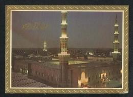 Saudi Arabia Picture Eid Greeting Postcard Holy  Mosque Medina Madina Islamic View Card - Saudi Arabia